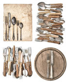 Kitchen board, aged paper, antique kitchen utensils and vintage  — Stock Photo