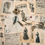 Antique office supplies, writing tools, vintage fashion magazine — Stock Photo #49570263