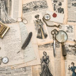 Antique office accessories, writing tools, vintage fashion magaz — Stock Photo #49570677