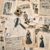 Antique office supplies, writing tools, vintage fashion magazine — Stock Photo