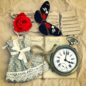Old love mails, vintage pocket watch, red rose flower and butter — Stock Photo