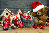 Christmas decoration with antique toys. retro style toned pictur — Stock Photo