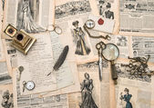 Antique office accessories, writing tools, vintage fashion magaz — Stock Photo