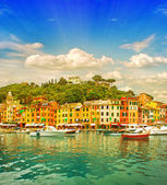 Beautiful sunset in Portofino village on Ligurian coast, Italy — Stock Photo