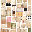 Aged paper sheets, books, pages and old postcards isolated on wh — Stock Photo #50324919