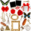 Objects for scrapbook. clock, key, photo frame, butterfly — Stock Photo #50325883