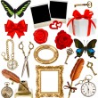 Objects for scrapbook. clock, key, photo frame, butterfly — Stock Photo