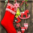 Christmas decoration stocking and handmade toys — Stock Photo #50326347