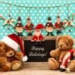 Постер, плакат: Christmas decoration with antique toys and blackboard