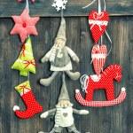 Christmas decoration handmade toys on wooden background — Stock Photo #50326569
