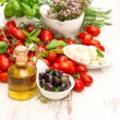 Fresh basil, tomatoes, mozzarella and olive oil. food background — Stock Photo #50326897