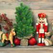 Christmas decoration with antique toys teddy bear — Stock Photo #50327597