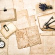 Aged papers, vintage accessories, keys, pocket watch, lavender f — Stock Photo #50327839