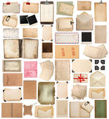 Aged paper sheets, books, pages and old postcards isolated on wh — Stock Photo