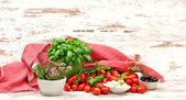 Tomatoes, basil, mozzarella and olive oil. healthy food — Foto de Stock