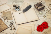 Diary book, old love letters and red rose flowers — Stock Photo