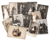 Vintage family and wedding photos. original old pictures — Stock Photo