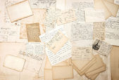 Old letters, handwritings and vintage postcards — Stock Photo