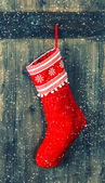 Red sock for Santa gifts. christmas stocking — Stock Photo