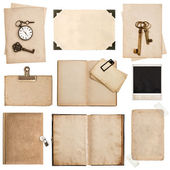 Antique grungy paper sheets, books and photo frames — Стоковое фото