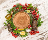 Vegetables, spices and herbs. basil, thyme, laurel, sage and ros — Stock Photo