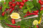 Fresh vegetables, herbs and spices. healthy mediterranean cuisin — Stock Photo