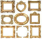 Golden frames. baroque style antique objects — Stock Photo
