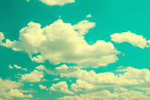 Turqiuse blue cloudy sky background — Stock Photo