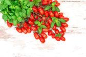 Fresh basil herb and cherry tomatoes. organic food — Стоковое фото