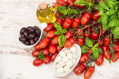Tomatoes, basil leaves, mozzarella and olive oil — Стоковое фото