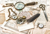 Antique office supplies, old handwritten mails — Stock Photo