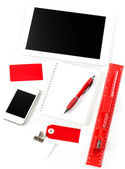 Office and school supplies over white background — Stockfoto