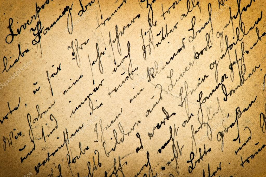Old letter with vintage handwriting. Grungy paper background — Stock ...