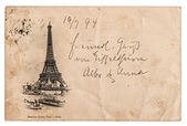 Vintage postcard with Eiffel Tower in Paris, France — Stock Photo