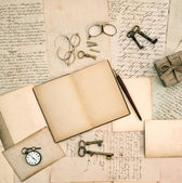 Memories book, vintage accessories, old letters and documents — Stock Photo