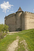 Castle fortress and road — Stockfoto