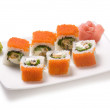 Rolls with sea food and fish roe — Stock Photo