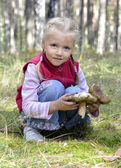 Little girl gathers mushrooms in the forest — Stock Photo