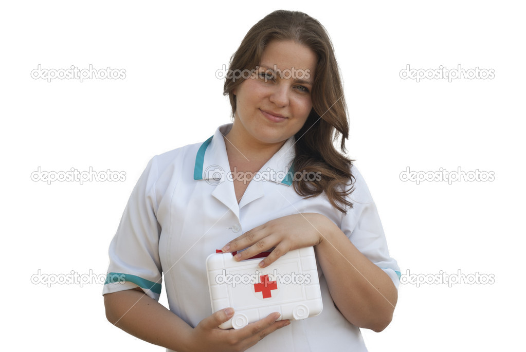 Young nurse holding a first aid kit — Stock Photo #12148669