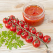 Stock Photo: Red tomatoes and tomato paste
