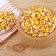 Stock Photo: Corn on plate on table.
