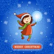 Christmas card with a little girl and a sparkler. — Stock Vector