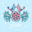 Vector cute winter illustration. Birds. — Stockvector