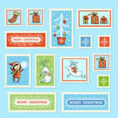 Set of Christmas postage stamps. — Stock Vector