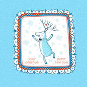 Cartoon Christmas background with the Dancing Deer. — Vettoriale Stock