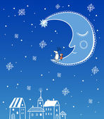 A Girl and a Deer sitting on the Moon. — Stock Vector
