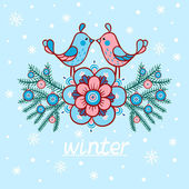 Vector cute winter illustration. Birds. — Stock Vector