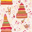 Seamless cake pattern with rabbit — Stock Vector