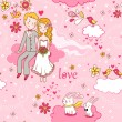 Cartoon romantic seamless pattern . — Stockvector