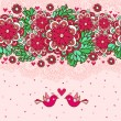 Royalty-Free Stock ベクターイメージ: Floral romantic background with birds in love.